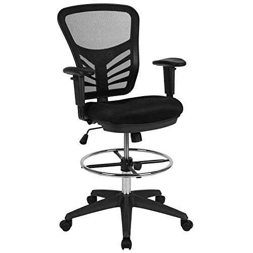 Flash Furniture Mid-Back Black Mesh Ergonomic Drafting Chair with Adjustable Chrome Foot Ring, Adjustable Arms and Black Frame