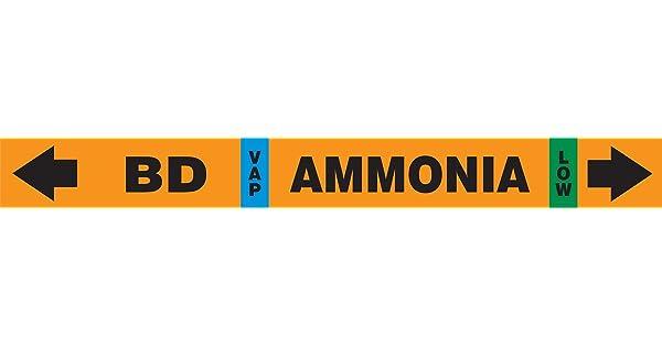 Accuform RAK100S Self-Stick IIAR Ammonia Pipe Marker BD//VAP//LOW for 2-1//2 to 6 OD Pipe Black//Blue//Green on Orange 2-1//2 W x 23-5//8 L