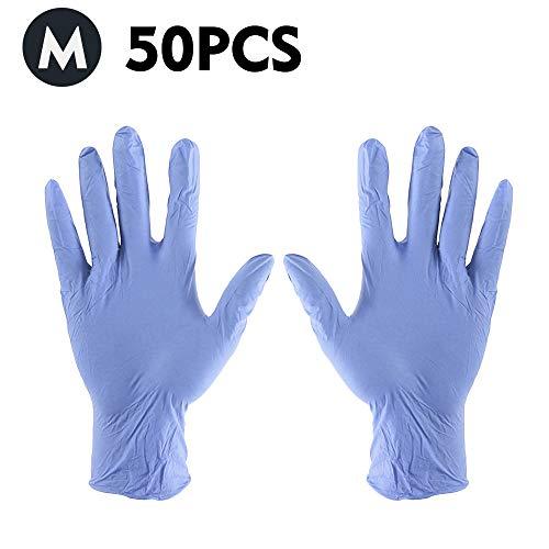 KKmoon 50 Stks/Wegwerp Handschoenen Dikke Poedervrije Rubber Latex Stretchy Handschoenen Sterile Food Safe Grade voor Thuis Voedsel Laboratorium Gebruik (Wit S) paars M