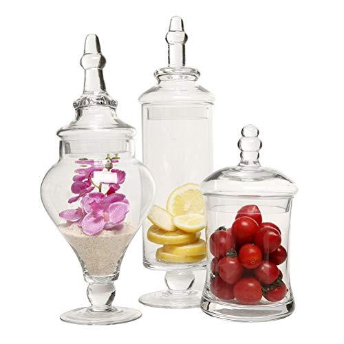 LARRY SHELL Glas Apotheker Gläser klar dekorative Hochzeiten Candy Buffet Display, Elegante Vorratsgläser, 3 Verschiedene Stile & Größen, Packung mit 1 Satz von 3