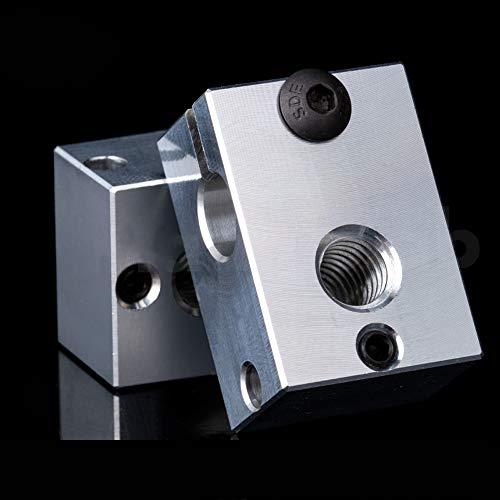3D Printer High Temperature Plated Copper Heater Block for PT100 Cartridge Sensor Version V6 Hotend Titan Aero Extruder (Aluminum)