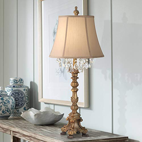 Duval French Country Cottage Tall Table Lamp Crystal Aged Gold Candlestick Beige Bell Shade Decor for Living Room Bedroom House Bedside Nightstand Home Entryway Dining Family - Barnes and Ivy