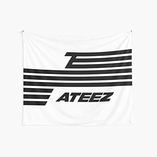 DUQQ ATEEZ S Flag Boutique Wandteppich Wandbehang Wandteppich Vintage Wandteppich Wandteppich Mikrofaser Pfirsich Wohnkultur 59.1X51.2 In