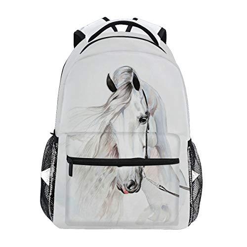 Mochila de viaje con diseño de caballo blanco para estudiantes y niñas, mochila para portátil