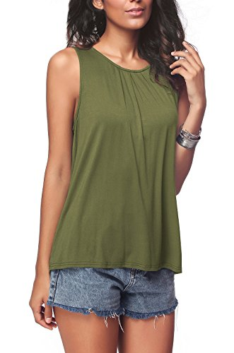 iGENJUN Women's Summer Sleeveless Pleated Back Closure Casual Tank Tops,Army Green,XL