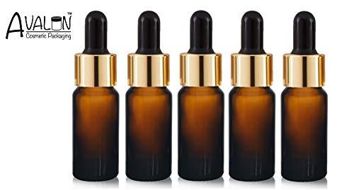5 x bruine glazen fles premium pipet gouden kraag en zwart siliconen peer keuze afmetingen: 10 ml, fles lege bruine glazen fles geschikt voor aromatherapie, kunst, knutselen,