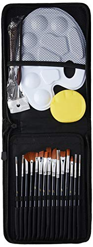 Artists Paint Brush Set, oil-15 Different Sizes Nice Gift for Artists, Metal Ring Made of Copper Tubes, Free Painting Knife,Watercolor Sponge,Paint Tray Palette, a Detail Brushes(Black)