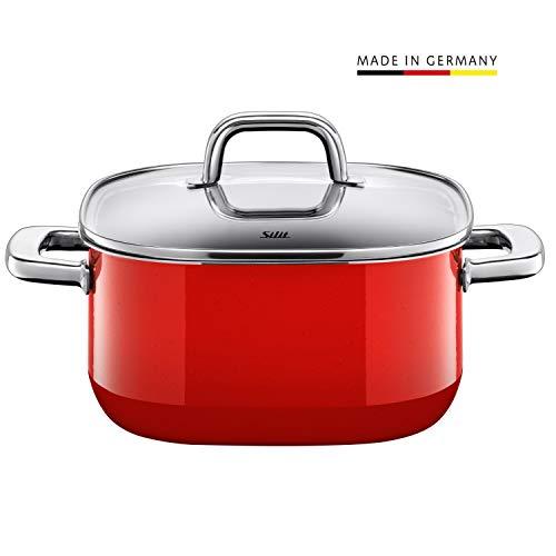 Silit Quadro Red Kochtopf quadratisch 22cm, Glasdeckel, Bratentopf 4,4l, Silargan Funktionskeramik, stapelbar, Topf Induktion, rot