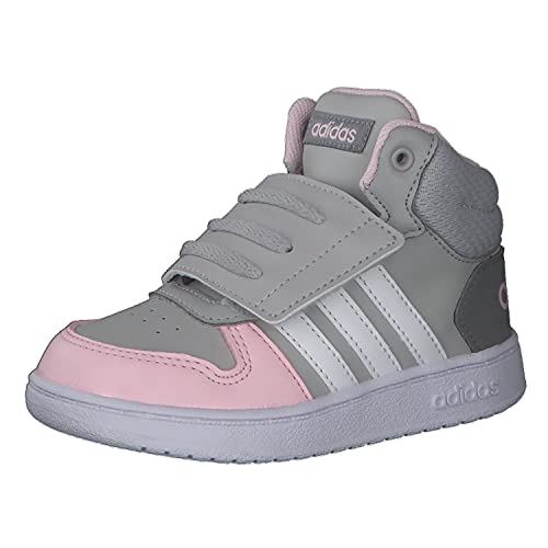adidas Unisex Baby Hoops Mid 2.0 Basketball Shoe, Grey/Cloud White/Clear Pink, 22 EU