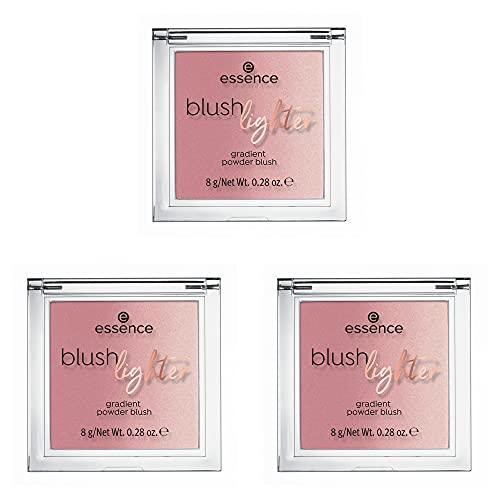 essence blush lighter, Rouge, Nr. 03 Cassis Sunburst, pink, langanhaltend, strahlend, matt, vegan, Nanopartikel frei, ohne Parfüm, 3er Pack (3 x 8g)