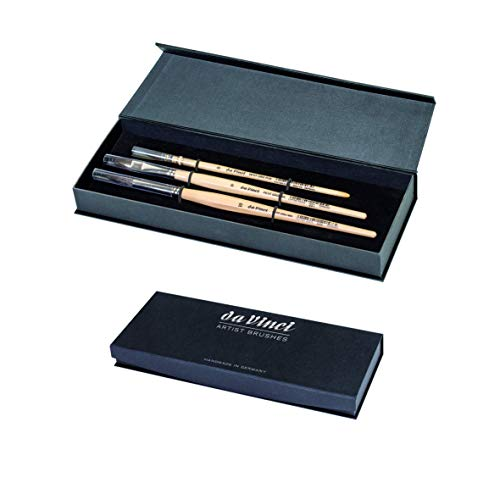 da Vinci Brushes 4251DV Watercolor Brush Set, Quill Size 0, Round Size 10, Flat Size 10, Black, 3 Each