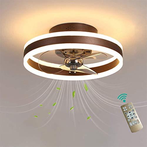 Ventilador de techo LED para dormitorio con control remoto reversible, 6 velocidades, ventiladores de techo modernos con luces, silencioso, 3 aspas, regulable, 40 cm, marrón