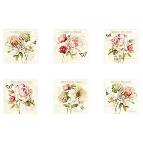 Easy Life 6 ringen set van kurk, porselein, meerkleurig, 11 x 11 x 2,5 cm