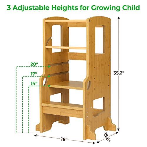 ADORNEVE Kitchen Helper Stool for Kids Height Adjustable Toddlers Stool Kids Stool (Nature)