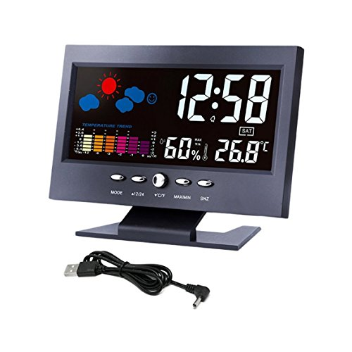 Digital Thermometer Hygrometer Wetterstation Wecker Temperaturanzeige Bunter LCD Kalender Sprachaktiviert
