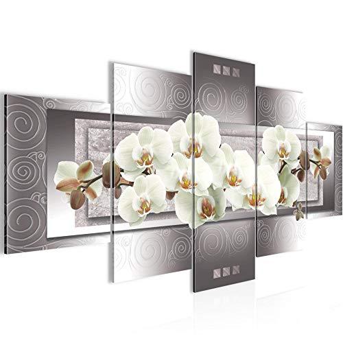 Runa Art - Bilder Blumen Orchidee 200 x 100 cm 5 Teilig XXL Wanddekoration Design Grau Beige 205451b