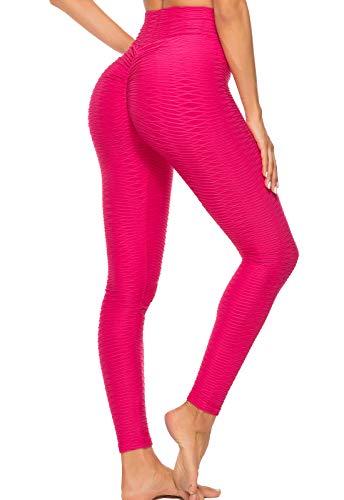 FITTOO Mallas Leggings Mujer Pantalones Deportivos oga Alta Cintura Elásticos Transpirables Rosa Fucsia L