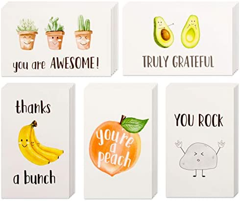 40 Funny Thank You Cards 4 x 6 in Pun Greeting Note Cards w Envelopes Stickers Bulk Boxed Set product image