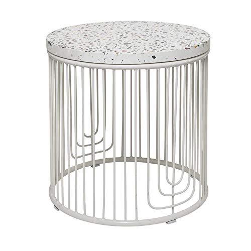 YJYDD Beistelltisch Weiß Fiberstone Terrazzo Metall Gestell Tisch
