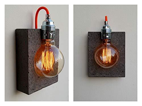 Wandlampe'alba scuro' aus Beton (incl. Leuchtmittel)