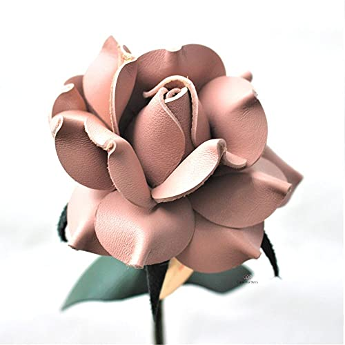 Camellia Bees Leather Rose Gift for her/him on Valentines Day, Mothers Day, Third Years Wedding Anniversary (Pink)