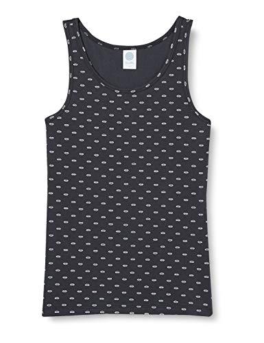 Sanetta Mädchen Moon Grey Komfortables Unterhemd in Anthrazit mit einem coolen Lippen-Alloverprint, grau, 176