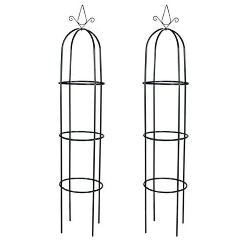 Anself 2 Set Rosensäule Rankhilfe aus Eisen Dunkelgrün 190 cm