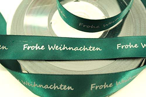 CaPiSo 25m Weihnachtsband 15mm Satinband Geschenkband Schleifenband Weihnachten mit Schrift Frohe Weihnachten (Grün)