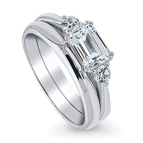 BERRICLE Rhodium Plated Sterling Silver 3-Stone East-West Engagement Wedding Ring Set Made with Swarovski Zirconia Emerald Cut 1.22 CTW Size 8