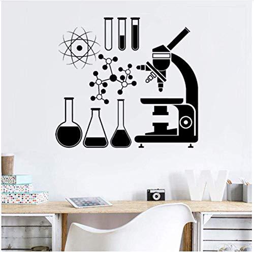 Chemie Schule Büro Vinyl Wandaufkleber Labor Mikroskop Wissenschaft Chemische Atome Wandaufkleber Wasserdichtes Kunst Dekor 50X42Cm