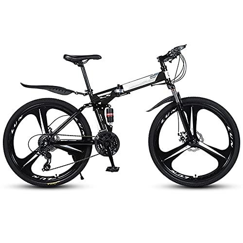 FGKLU 26 Pollici 3 Rotelline Adulto Mountain Bike Pieghevole, 21 Speed MTB Trasmissione Pieghevole Bicycle, Dotata di Doppio Ammortizzatore Dual Disc Brake
