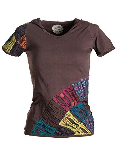 Vishes - Alternative Bekleidung - Patchwork-, Cutwork- Shirt - UNIKAT mit Zipfelkapuze braun 34-36 (XS)