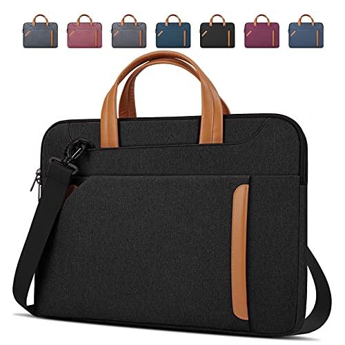 Lubardy Borsa Porta PC Tracolla 15,6 Pollici Laptop Sleeve Case Borsa Notebook Computer Portatile Sottile Impermeabile Uomo Donna Lavoro Viaggio Nero