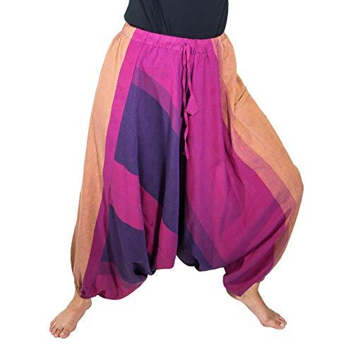 KUNST UND MAGIE Unisex Haremshose OneSize mehrfahrbig, Größe:One Size, Farbe:Braun/Pink