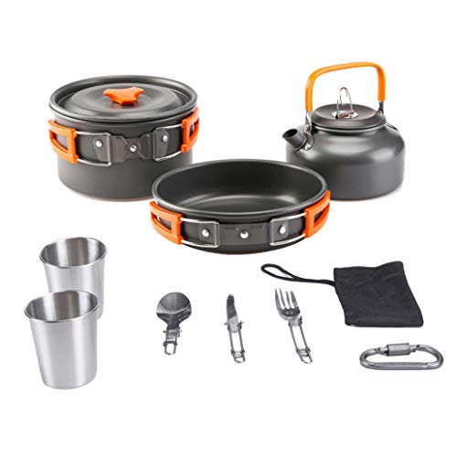 Aitsite Camping Cookware Kit Outdoor Aluminum Lightweight Camping Pot Pan Cooking Set for Camping Hiking