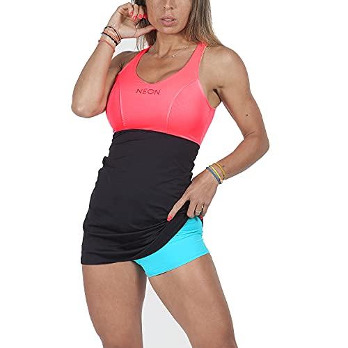 NEON STYLE - Vestido Deportivo para Mujer | Vestido con Pantalón Incorporado para Tenis y Pádel | Ropa Fitness | Lucia Rainbow, Talla S | Color Negro con Colores Flúor