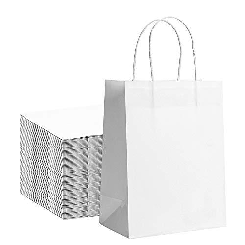 Bolsas de Regalo Blanco con Asa, 25 PCS Bolsa de Papel Kraft Bolsas de Papel, 23×8×17cm Bolsas Regalo Biodegradable Bolsas de Cumpleaños para Fiestas, Ceremonias de Graduación, Bodas, Navidad