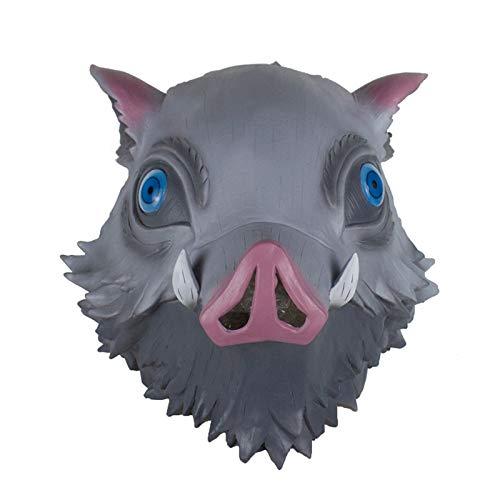 『嘴平伊之助 お面 鬼滅の刃 コスプレ グッズ ラテックスマスク 猪の被り物マスク イノシシ コスプレ 小道具』のトップ画像