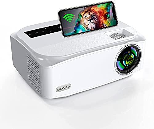 GROVIEW Nive 1080P videoproiettore WiFi 8000 Lux, supporta WiFi 2,4 G + 5 G, supporta 4 K, con funzione zoom, schermo da 300', compatibile con iPhone, Android, TV Stick, HDMI, VGA, USB, PS4