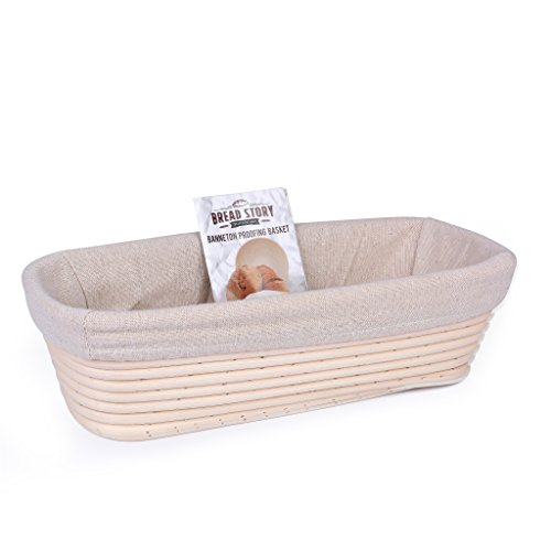 Oval Proofing Basket Set by Bread Story Oval Banneton Brotform Handmade Unbleached Natural Cane Bread Baking Kit with Cloth Liner Plus Bread Baking e-book Course size 12 x 5.5 inch
