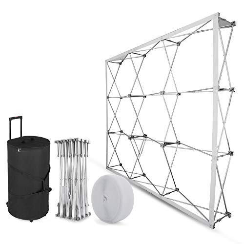 VEVOR Tension Fabric Trade Show Display 8x8ft Aluminum Display Booth Frame Trade Show Display Stand with Carrying Case