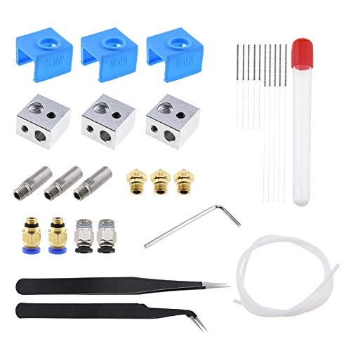 30Pcs 3D Printer 0.4 mm Nozzle Cleaning Kit, with Cleaning Needle Extruder Nozzle Throat Tube Aluminum Heater Block Heated Block Sock Tube