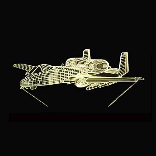RJGOPL Home Verlichting 3D LED Interessante 7 kleuren kleurverandering creatieve besturing vliegtuig touch nachtlampje decoratie tafellamp