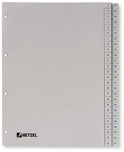 HETZEL Kunststoffregister Zahlen/721308 A4 grau Polypropylen 1-52