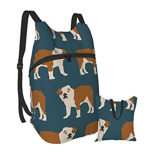 English Bulldog Pet Dog Navy Blue Lightweight Foldable Backpack Packable Hiking Daypack Travel Bag Bookbag