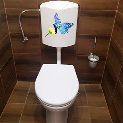 Papillon Autocollants De Siège De Toilette Sur La Fleur Jaune Fashion Wc Home Wall Decal 22.9 * 18.8Cm