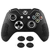 MoKo Silicone Case Fit Xbox One S / One X Controller, Anti-slip Silicone Controller Protective Cover Skin with 4PCS Joystick Caps Fit Xbox One S / Xbox One X Controllers– Black