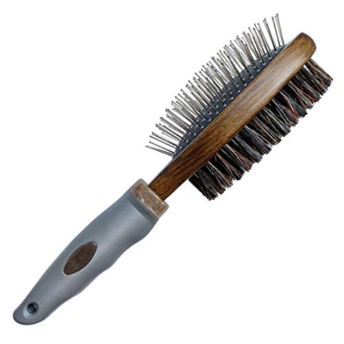 HOP Home of Paws Dog Brush for Grooming, Double Sided Brush Removing Shedding Hair, Dog Brush for Short Medium or Long Hair, Cat Brush Grooming Comb for Detangling and Dirt Cleaning, Lotus Wood
