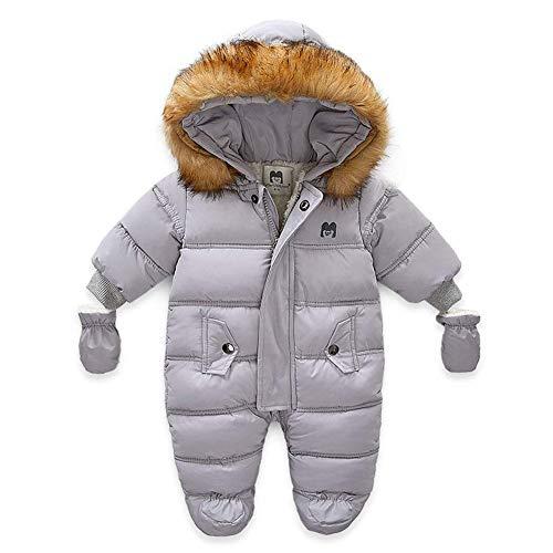 Bestgift Unisex Baby Winter Schneeanzug Kleinkind Hoodie Footie Strampler Outwear Mantel Gr. 12-18 Monate, grau