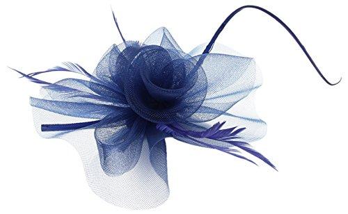 La Vogue Barrette Pince à Cheveux Fleur Voile Clip Femme Fille Serre-Tête Bleu